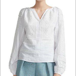 Maje Lippy guipure-lace trimmed linen top, Medium